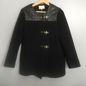 SANDRO   wool & quilted leather black toggle coat